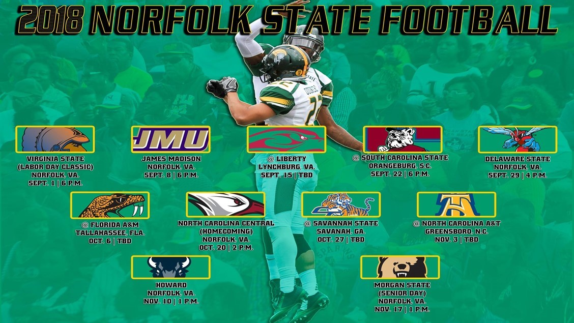 nsu announces 2018 football schedule norfolk state university